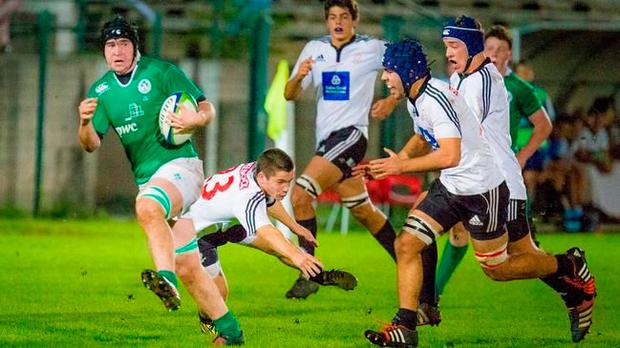 Clonakilty No 8 John Hodnett leading the charge for the Ireland U-18 Clubs team against Portugal last Saturday
