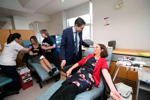 Health Minister Simon Harris could only look on as other Oireachtas members including Fine Gael TD Kate O'Connell donated blood in Dublin. Photo: Sam Boal/Rollingnews.ie