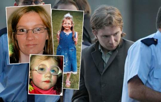 Inset: Victims mum Sharon Whelan and her two daughters, Zsara (seven) and Nadia. Main Pic: Brian Hennessy