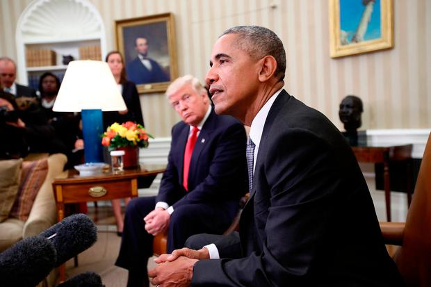 President-elect Donald Trump listens to Barack Obama. Photo: Win McNamee/Getty