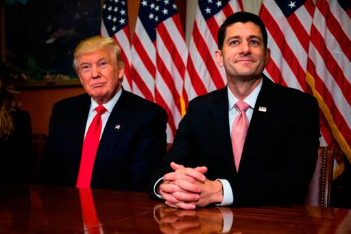 Donald Trump meets with Speaker of the House Paul Ryan at Capitol Hill. (Photo by Zach Gibson/Getty Images)