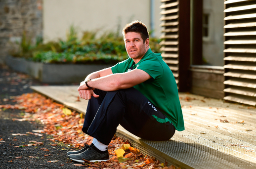 Billy Holland, who will make his Ireland debut against Canada tomorrow, pictured at Carton House yesterday. Photo: Sportsfile