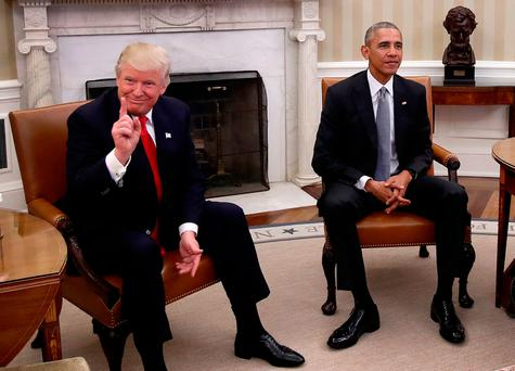 President-elect Donald Trump meets US President Barack Obama in the Oval Office of the White House in Washington. (Photo by Win McNamee/Getty Images)
