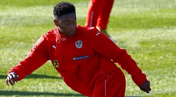 David Alaba in training ahead of tomorrow's game against Ireland in Vienna. Picture: Reuters