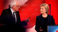 Bernie Sanders (left) and Hillary Clinton during the Democratic presidential candidates' debate at the University of New Hampshire in February. Photo: Mike Segar/Reuters