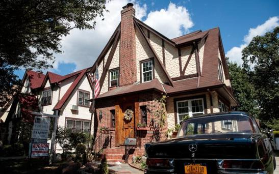 Donald Trump's childhood home in the Jamaica Estates neighbourhood in Queens, New York