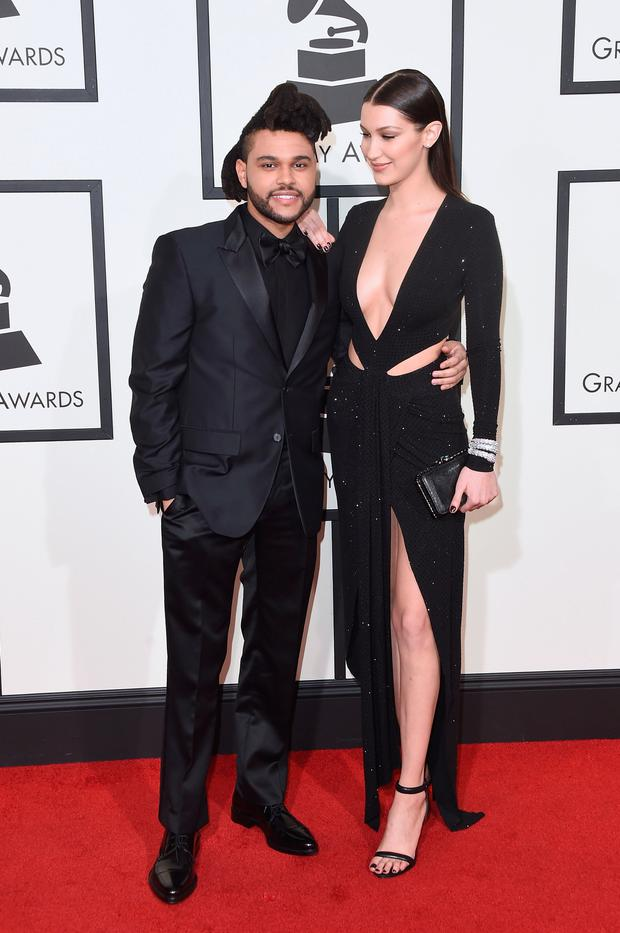 Singer The Weeknd (L) and model Bella Hadid attend The 58th GRAMMY Awards at Staples Center on February 15, 2016 in Los Angeles, California. (Photo by Jason Merritt/Getty Images)