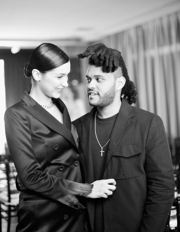 Model Bella Hadid (L) and singer The Weeknd attend The Daily Front Row