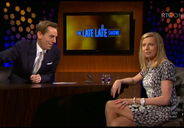 Katie Hokins on The Late Late Show in 2014
