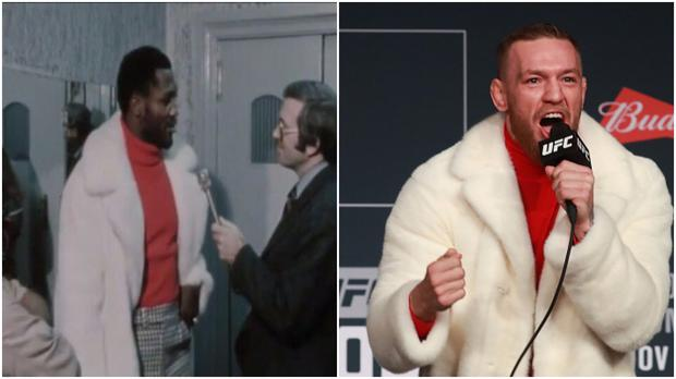 6524c76185a Conor McGregor s press conference fur coat was actually a tribute to a  boxing legend