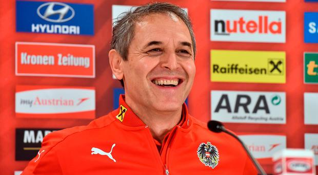 Austria manager Marcel Koller during a press conference at the Ernst Happel Stadium in Vienna, Austria. Photo by David Maher/Sportsfile