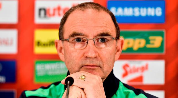 Republic of Ireland manager Martin O'Neill during a Republic of Ireland press conference at the Ernst Happel Stadium in Vienna, Austria. Photo by David Maher/Sportsfile