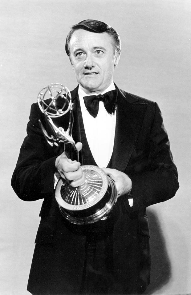 In this Sept. 18, 1979 file photo, actor Robert Vaughn poses with his Emmy Award for outstanding supporting actor (AP Photo, File)