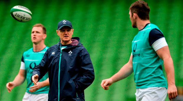 Ireland head coach Joe Schmidt in conversation with team captain Peter O'Mahony during the Captain's Run at the Aviva Stadium in Dublin. Photo by Piaras Ó Mídheach/Sportsfile
