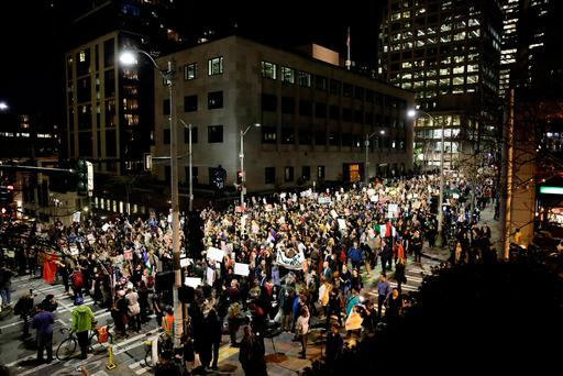 People march in protest to the election of Republican Donald Trump as the president of the United States in Seattle, Washington. Photo: Reuters