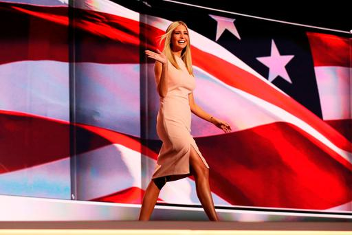 Ivanka Trump waves to the crowd as she walks on stage to deliver a speech during the Republican National Convention in July in Ohio. Photo: Getty