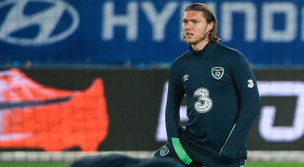 Jeff Hendrick goes through his stretching routine at the Ernst Happel Stadium in Vienna. Photo: Sportsfile