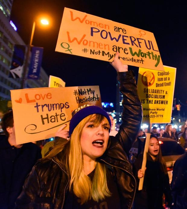 Anti-Trump protests have been held across the US, such as this one in Baltimore. Photo: Amy Davis/AP