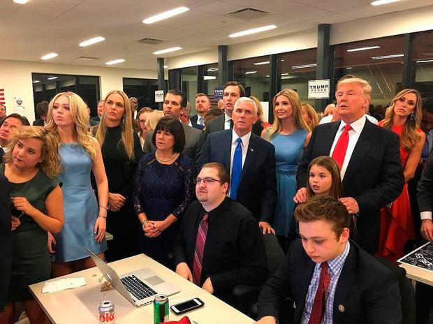 Donald Trump watches election results with family and supporters. Photo: PA