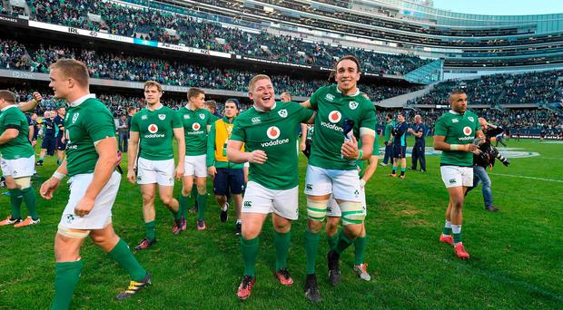 Ireland players Tadhg Furlong and Ultan Dillane celebrate victory after the International rugby match between Ireland and New Zealand at Soldier Field
