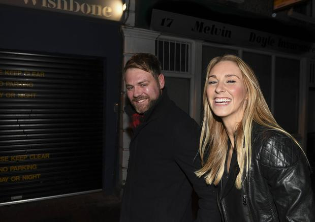 Brian McFadden and his new girlfriend Danielle Parkinson go on a double date with his Boyzlife partner Keith Duffy and his wife Lisa Duffy at Wishbone Restaurant on Montague Street, Pictures: Jerry McCarthy / VIPIRELAND.COM