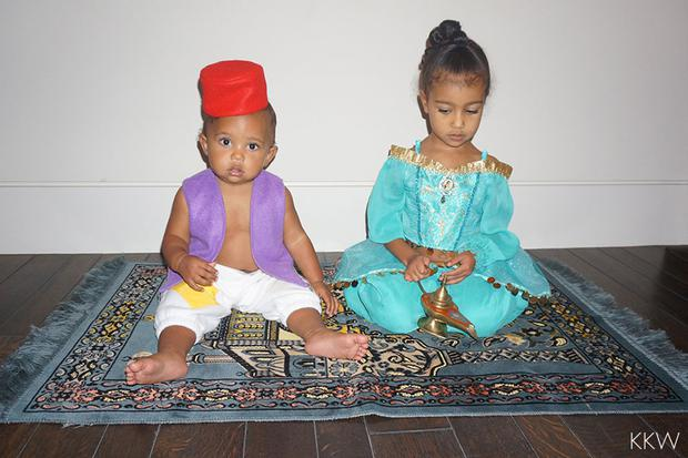 Kim Kardashian's children Saint and North dress up as Aladdin and Jasmine at Halloween Credit KimKardashianWest.com