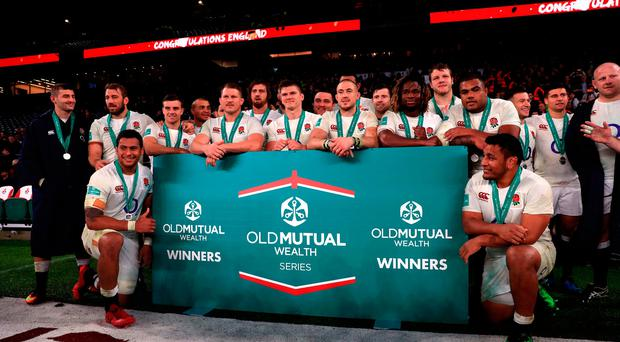 England's players celebrate after winning the Autumn International match at Twickenham Stadium, London. PRESS ASSOCIATION Photo. Picture date: Saturday November 12, 2016. See PA story RUGBYU England. Photo credit should read: Adam Davy/PA Wire. RESTRICTIONS: Editorial use only, No commercial use without prior permission