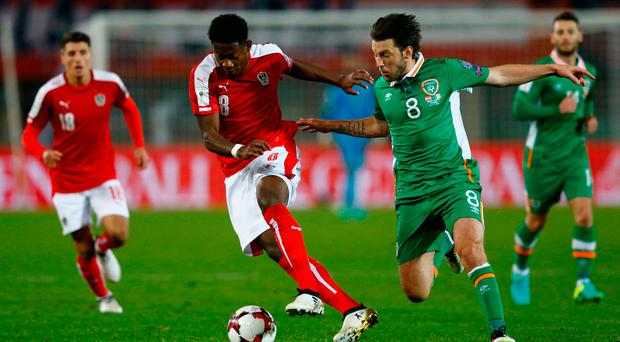 Football Soccer - Austria v Republic of Ireland - 2018 World Cup Qualifying European Zone - Group D - Ernst-Happel Stadium, Vienna, Austria - 12/11/16 Republic of Ireland's Harry Arter in action with Austria's David Alaba Reuters / Leonhard Foeger Livepic EDITORIAL USE ONLY.