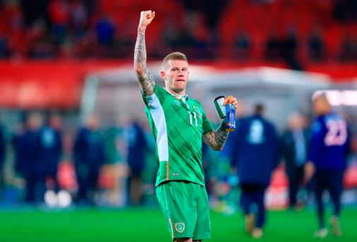 Republic of Ireland's James McClean celebrates after the final whistle of the 2018 FIFA World Cup Qualifying, Group D match at the Ernst-Happel-Stadion, Vienna. PRESS ASSOCIATION Photo. Picture date: Saturday November 12, 2016. See PA story SOCCER Austria. Photo credit should read: John Walton/PA Wire. RESTRICTIONS: Editorial use only, No commercial use without prior permission