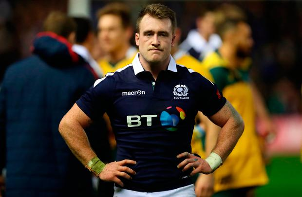 Stuart Hogg shows his disappointment after the match. Photo: Getty