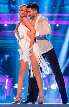 Falling out: 'Strictly' star Laura Whitmore, pictured with dance partner Giovanni Pernice, complained about Katie Hopkins being given airtime on 'The Late Late Show' Photo: Guy Levy