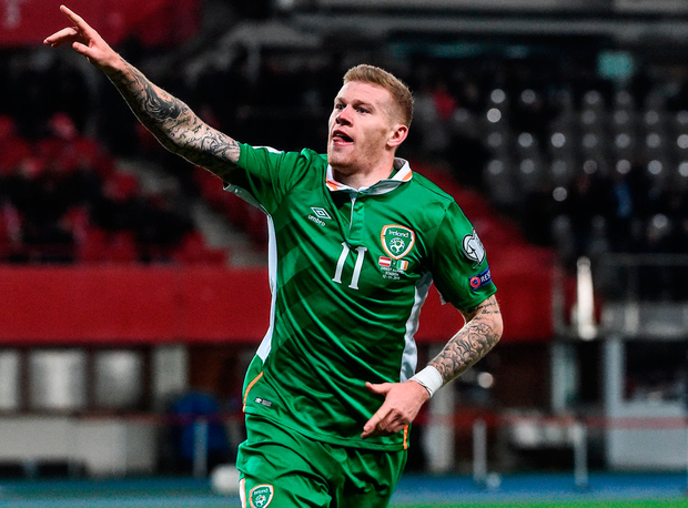 James McClean celebrates a brilliant goal. Photo: David Maher/Sportsfile