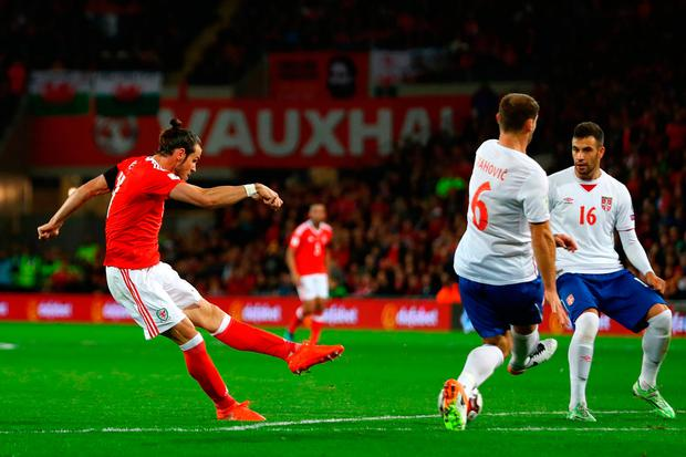 Gareth Bale of Wales scores the first goal. Photo: Getty