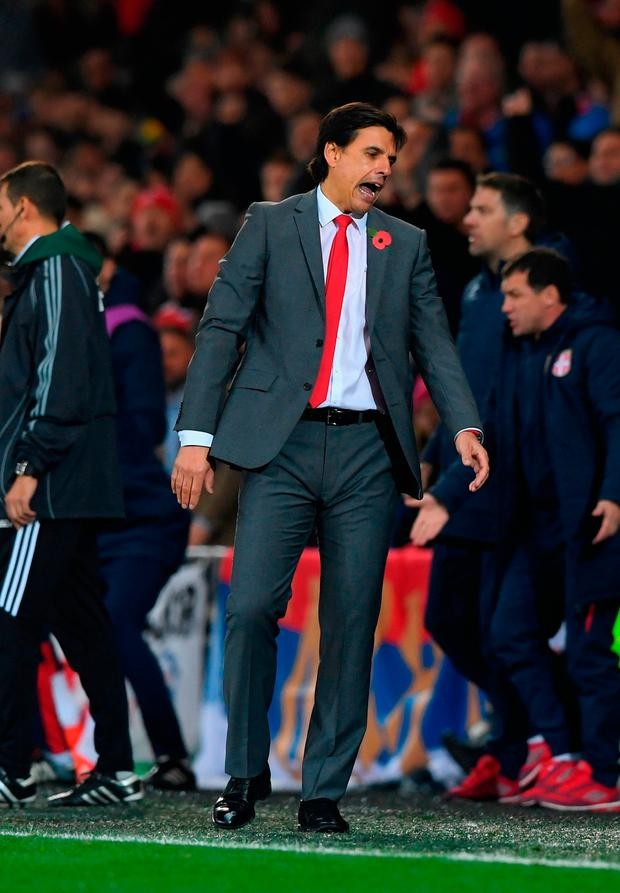Wales manager Chris Coleman reacts. Photo: Getty