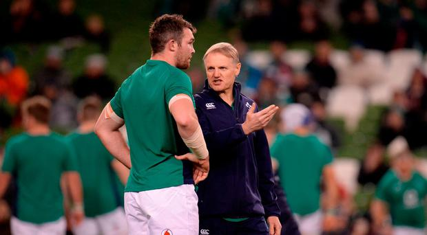 Ireland head coach Joe Schmidt, right, and captain Peter O'Mahony of Ireland in discussion ahead of the Autumn International match between Ireland and Canada at the Aviva Stadium in Dublin. Photo by Seb Daly/Sportsfile