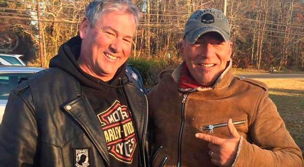 Dan Barkalow, left, and Bruce Springsteen poses for a photo in Wall Township, N.J. (Ryan Bailey via AP)