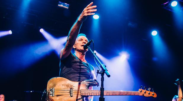 Handout photo issued by Universal Music France of Sting on stage at the Bataclan concert hall in Paris, France to mark one year since the terrorist attacks in the city. Photo: Boris Allin/Universal Music France/PA Wire