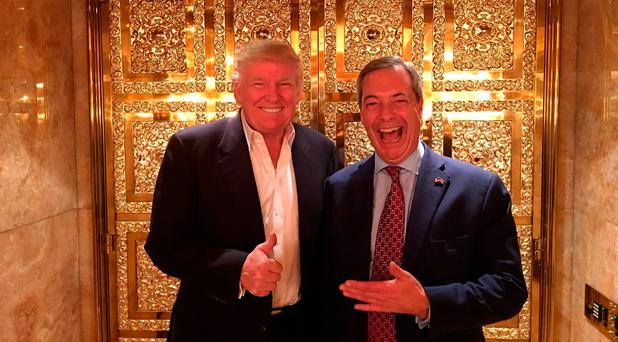 Handout photo of Donald Trump and Nigel Farage Nigel Farage/ PA Wire