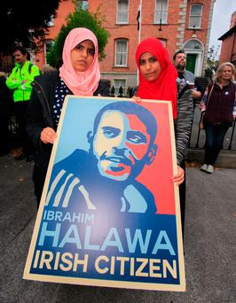Ibrahim Halawa's sisters, Fatima (left) and Omaima. Photo: Gareth Chaney Collins