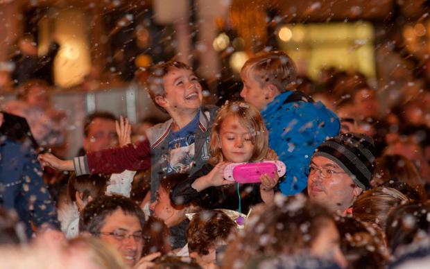 Members of the public during the Christmas lighting ceremony on Grafton Street, Dublin. Photo: Gareth Chaney Collins