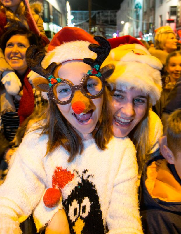 Lauren Walsh (10) with her mother Karla Walsh both from Greystones at the switch-on. Photos: Collins