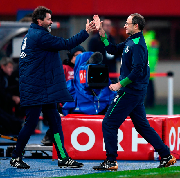 Martin O'Neill and Roy Keane congratulate each other at the final whistle after Ireland's victory over Austria. Photo: Sportsfile