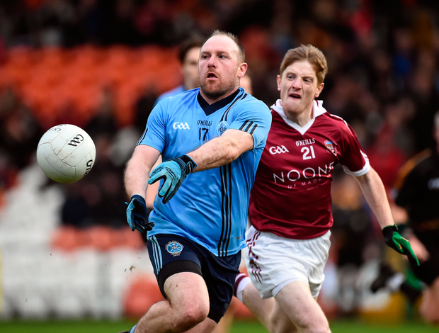 Eoin Bradley of Killyclogher in action against Ronan Bradley of Slaughtneil. Photo by Oliver McVeigh/Sportsfile