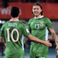 Jeff Hendrick, right, with Irish team-mate Robbie Brady
