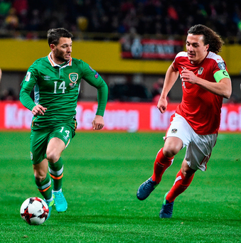 Hoolahan (p) found the space in midfield and Meyler promptly found his team-mate. Photo by David Maher/Sportsfile