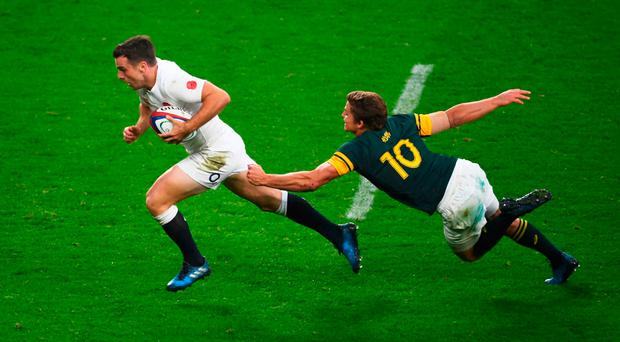 England's George Ford outruns a tackle by 'Boks Pat Lambie. Photo: Getty