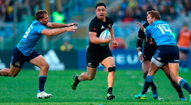 Anton Lienert-Brown of the New Zealand All Blacks in action. Photo by Phil Walter/Getty Images