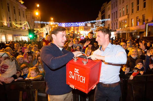 Olympic Rowing Heroes Paul and Gary O'Donovan switch on the Christmas Lights in Cork and mark the start of the festive season in the city. Pic Darragh Kane