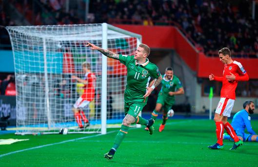 James McClean celebrates scoring the only goal of the game against Austria in Vienna. Photo: John Walton/PA Wire