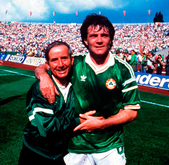 Ray Houghton with Charlie O'Leary in Stuttgart. Photo: Sportsfile